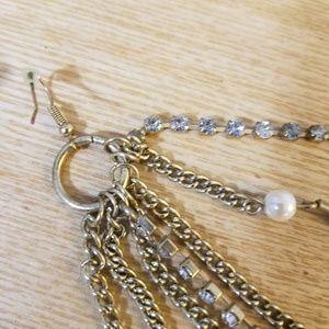 Jewelry - feather, rhinestone, pearl & chain danglers
